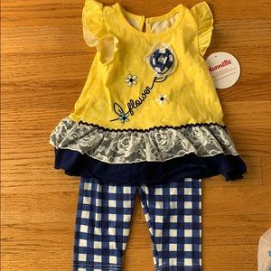 Yellow and blue gingham set